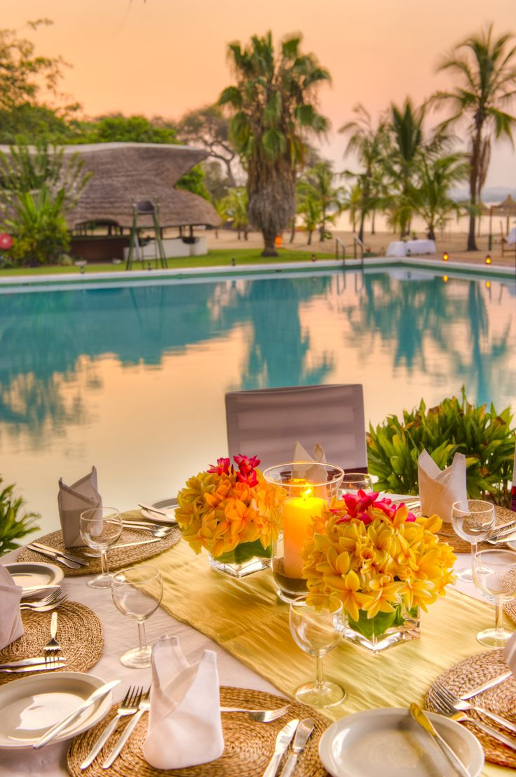 Dine on a freshly-prepared meal served on the pool patio at The Makokola Retreat in #Malawi. #GourmetAfrica #Africa #cuisine #beach #island
