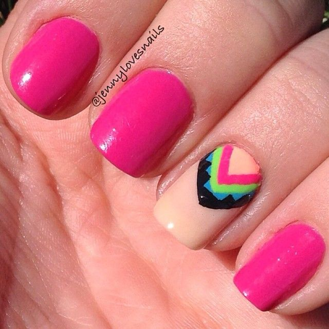 Pink Aztec Nails by @Jenny D