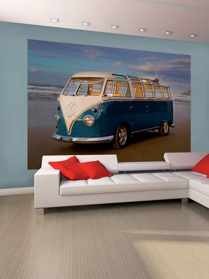 Vw campervan wall mural vw bus pinterest home work for Campervan wall mural
