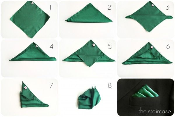 Gentleman's Guide: How to Fold a Pocket Square - Staircase Fold Style