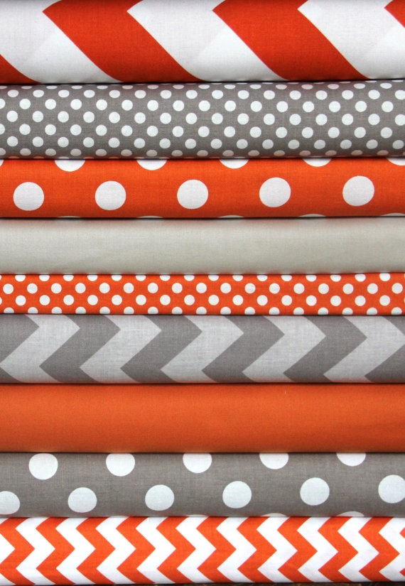 Orange/Gray fabric bundle 1 FQ each of 9 fabrics by WhimsyQuilts, $22.50 Orange & grey baby room...bumpers