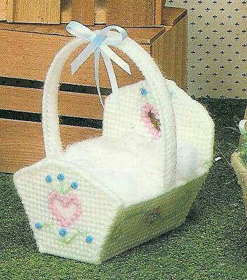 crib in plastic canvas - could be used for topper of baby box or photo cube.