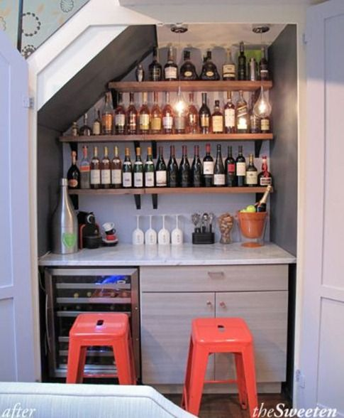 Ok Babe, this is what we ll do with the closet under our staircase! coffee bar on one end of the kitchen, and wine bar on the other!