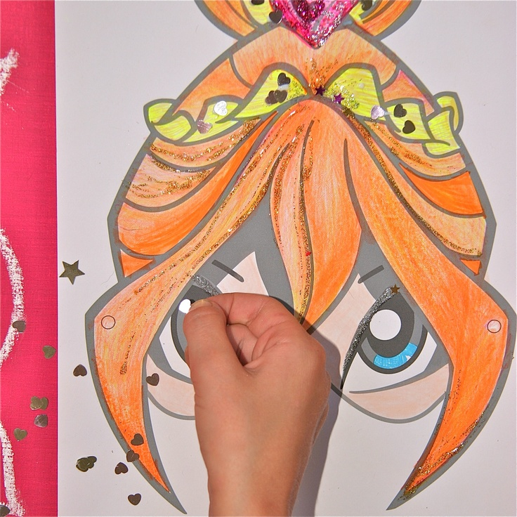 Playwinxclub.com Magic mask activities - Glue on some sparkly bits for added shine! ;)