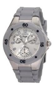 Women's Grey Silicone Silver Dial Watch