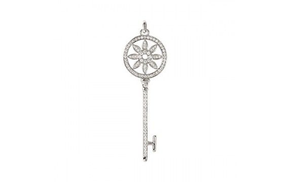"14KW RD DIAMOND KEY PENDANT D.78CTW APPX 2.15"" LENGTH"