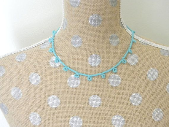 Turquoise Beadweave Necklace by PipandAnya on Etsy