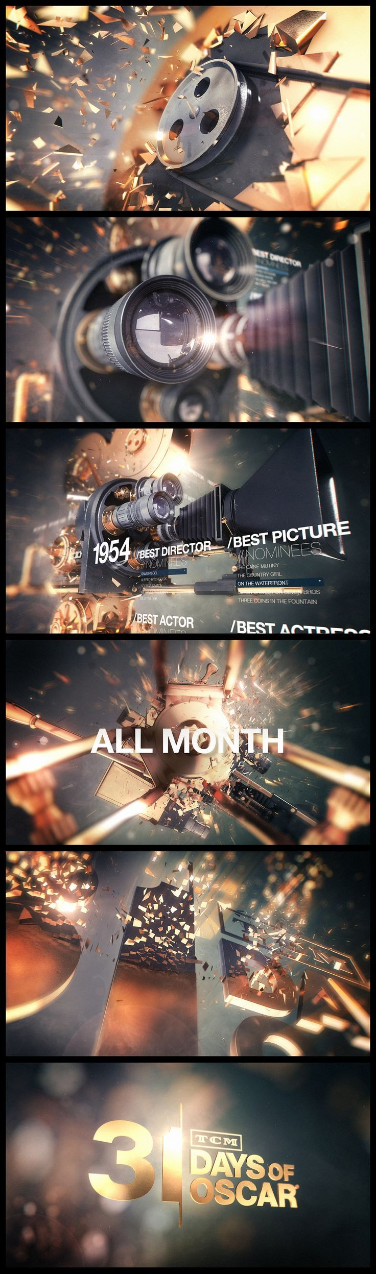 Pitch for TCM's 31 Days of Oscars by Brett Morris Design boards and styleframes. Mograph
