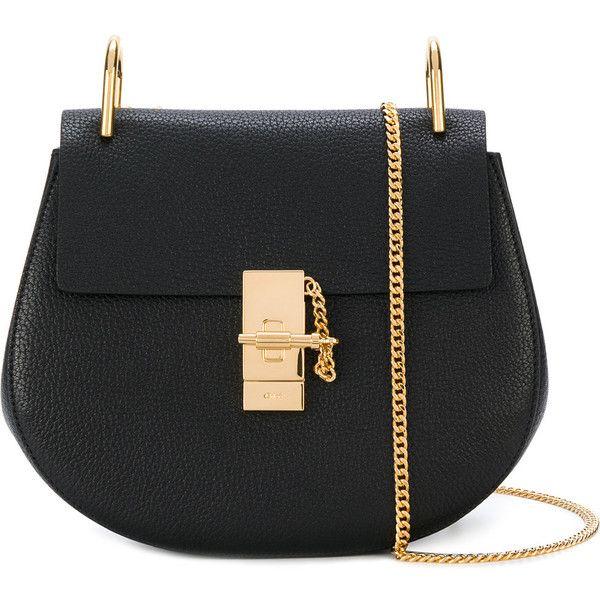 Chloé Drew Small Leather Shoulder Bag ($1,460) ❤ liked on Polyvore featuring bags, handbags, shoulder bags, black, chloe purse, chloe handbags, genuine leather handbags, fringe handbags and boho shoulder bag