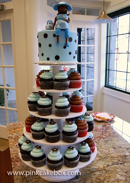 Baby Blue Baby Shower Cupcake Tower by Pink Cake Box in Denville, NJ. More photos at http://blog.pinkcakebox.com/baby-shower-cupcake-stand-2008-02-16.htm #cakes