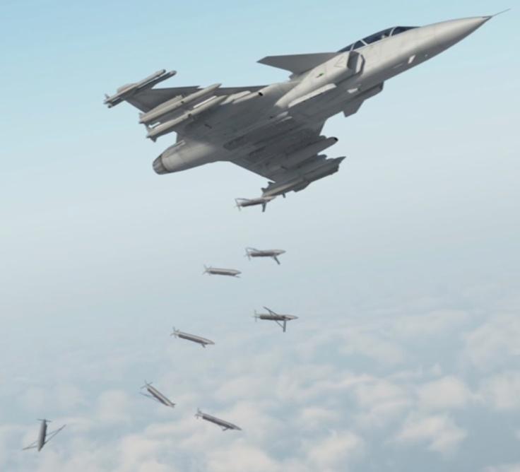 Gripen NG  (2009)    Sgancia 8 SDBs (bombe plananti a guida GPS)