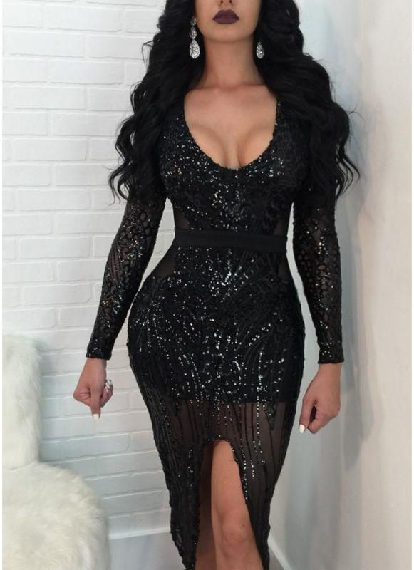 A| Chicloth Women Sequined Bodycon Dress Sheer Mesh Front Slit Bandage Party Dress Clubwear