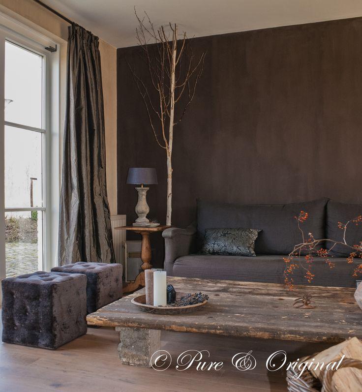 Coffee table. pure & original #kalkverf. kleur cold lava, lime paint. www.pure-original.com