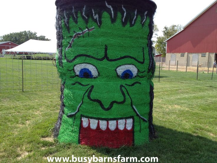 Busy Barns Farm Frankenstein Round Bale Art Round Bale