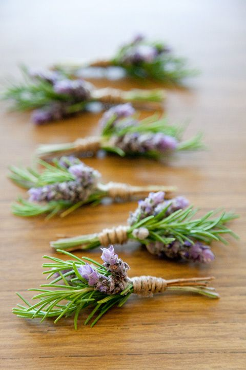 raffia boutonniere with lavender and rosemary