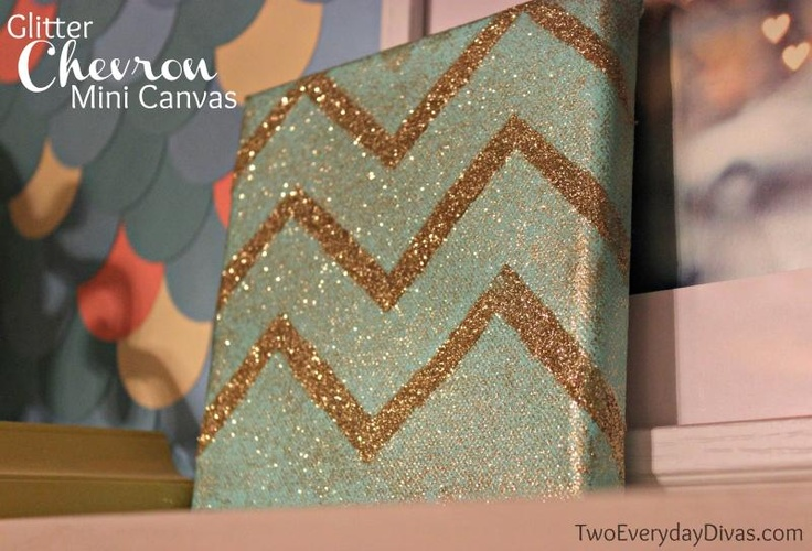 How to make Glitter Chevron canvas art | from: TwoEverydayDivas.com