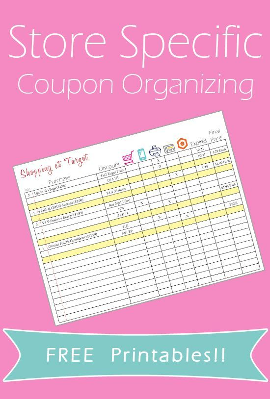 Coupon Organizing Printables! *Store Specific*