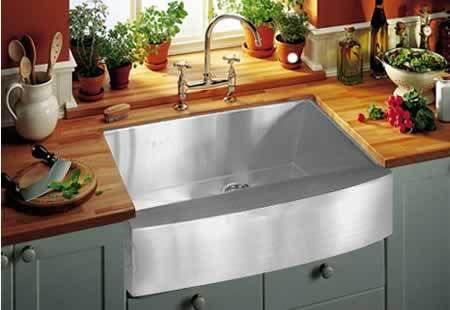 stainless sink. farmhouse style. Enameled Steel (resembles cast iron but thinner): The pro's, it comes in many different colours, is low maintenance & affordable. Con's, if you are hard on gear this may not be the choice for you as its thin, prone to flexing & chipping. Its also not recommended that you install a garbage disposal with this style as it vibrates quite easily and can be noisy