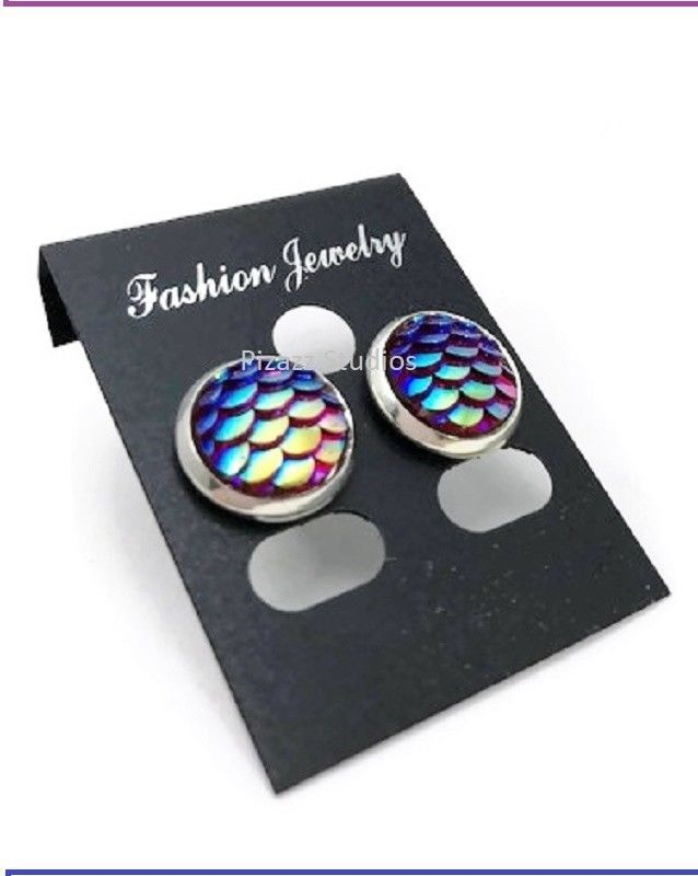 Iridescent Color Changing #Mermaid Scale Silver Bezel Stud #Earrings