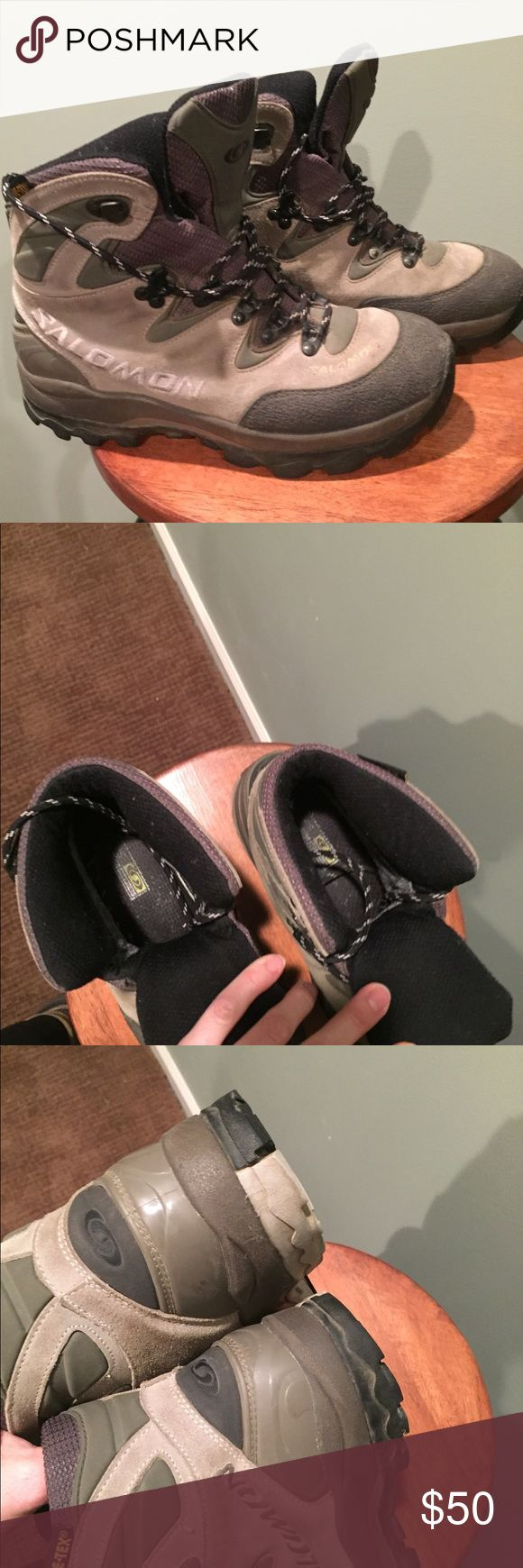 Salomon hiking boots women's 9.5 EUC Barely worn, extra sturdy and strong ankle support. Serious boot for serious hiking and camping. I don't recall the style name. EUC. True to size. I wear 9.5 almost all the time and these fit well with Smartwools and the like. Salomon Shoes Winter & Rain Boots