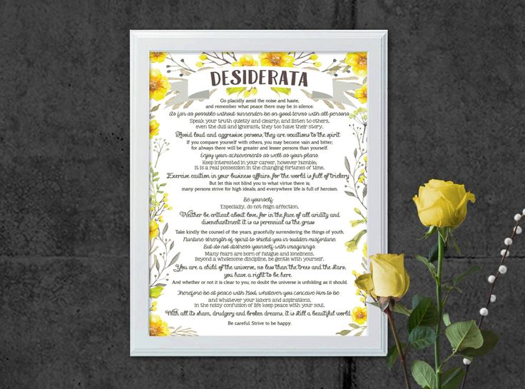 Desiderata   Printable Art   Printable Quote   A4   Inspirational Art   Instant Download Art   Office Art   Motivational Quote   Quote Print by SmudgeCreativeDesign on Etsy