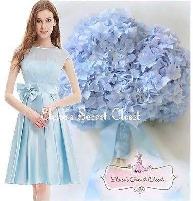Pale blue teenage bridesmaid dress