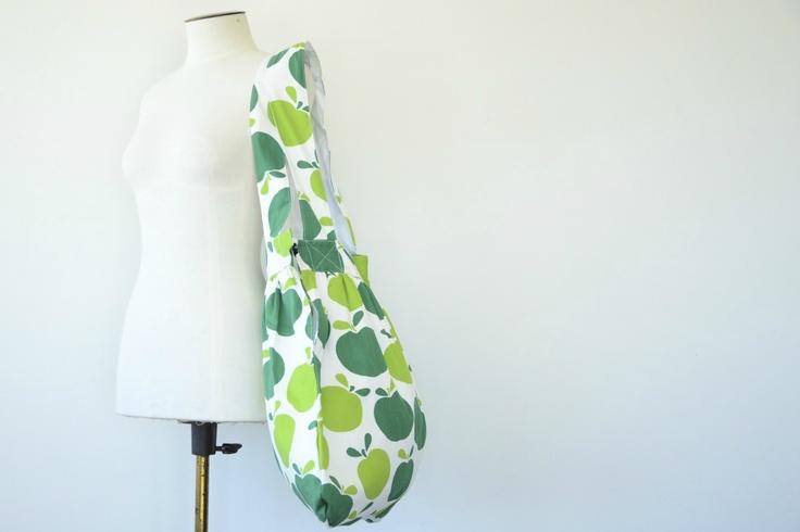 Huge cotton beach bag or nappy bag - green apple, $52.00