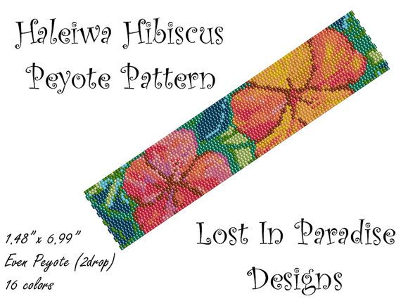 Peyote Bracelet Pattern - Haleiwa Hibiscus - Peyote Stitch Pattern (Buy any 2 and get one Free)