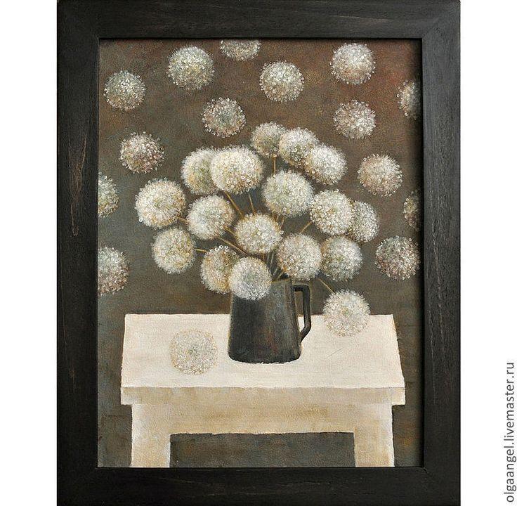 """Купить Картина """"Белые и пушистые"""" - картина, одуванчики, кувшин, стол, подарок, для интерьера, Живопись, серебряный"""