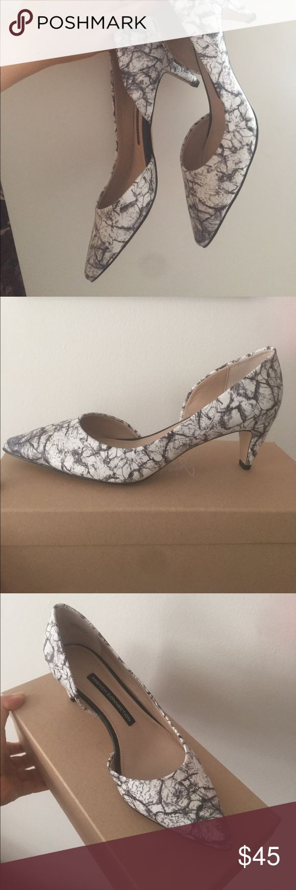 French Connection Marble Heels Super pretty marble print heels from French connection, new never worn. Still has protective tags on bottom sole. Heel height is about two inches, size 36.5. Perfect height for function and fashion! Would look great paired with jeans or work outfits. French Connection Shoes
