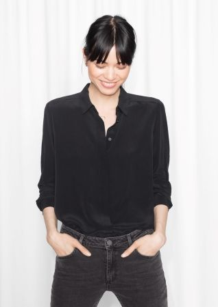 & Other Stories image 1 of Classic Silk Shirt in Black