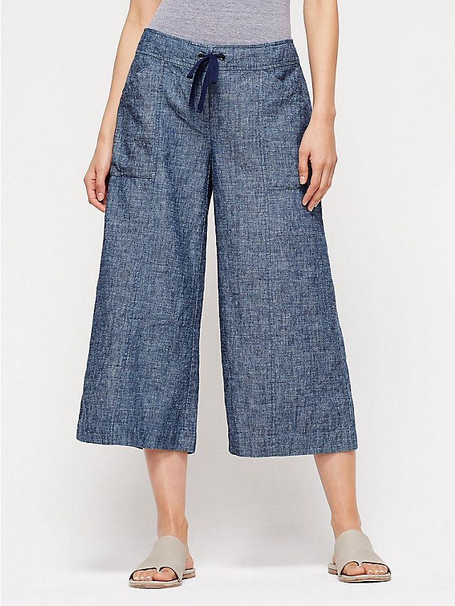 Wide-Leg Ankle Pant in Hemp and Organic Cotton Chambray