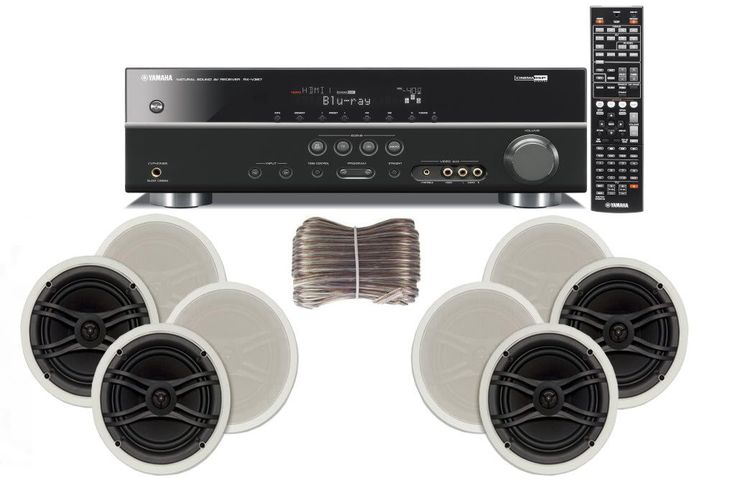 "Yamaha 3D-Ready 5.1-Channel 500 Watts Digital Home Theater Audio/Video Receiver with 1080p-compatible HDMI repeater & Upgraded CINEMA DSP + Yamaha Universal iPod & iPhone Dock + Yamaha Custom Easy-to-install Natural Sound In-Ceiling 3-Way 100 watt Speakers (Set of 4) with Dual Tweeters & 6-1/2"" Woof"