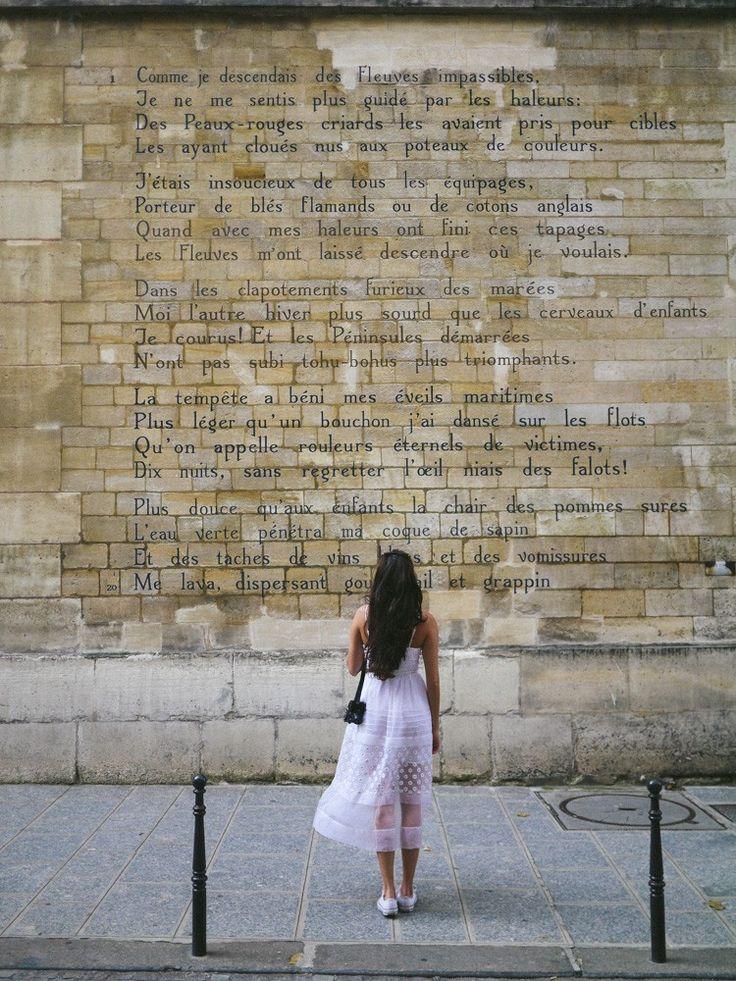 Le Bateau Ivre par Arthur Rimbaud, Rue Férou (small street that runs between Place Saint Sulpice and Jardin de Luxembourg), 6e Paris