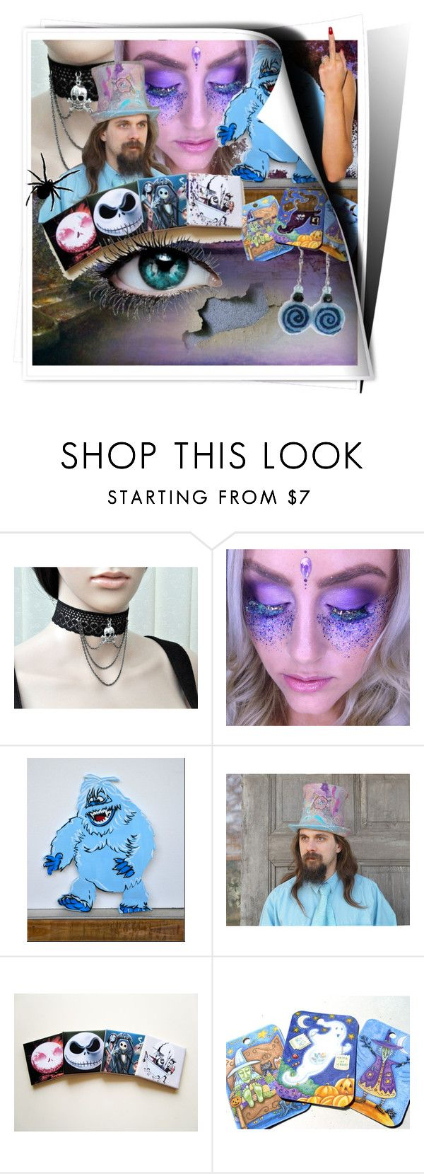 """Halloween in blue"" by canisartstudio ❤ liked on Polyvore featuring filcalki, blackpassion, MarudaFelting, TheBohipstian and TerryTiles2014"
