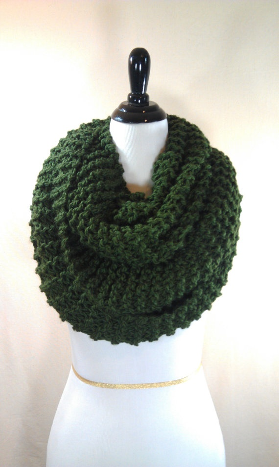 Green Chunky Hand Knit Scarf by TheBrickBoutique on Etsy, $28.00