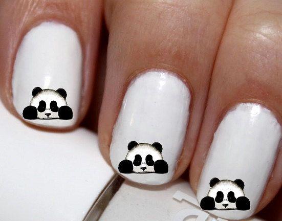 20 pc Panda Bear Peek A Boo Nail Art Panda Bears by EasyNailTrends Like & Repin.  Noelito Flow instagram http://www.instagram.com/noelitoflow