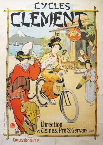1910 Original French Art Deco Poster, Cycles Clement - Leverd