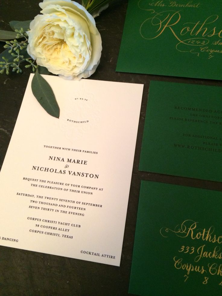 Emerald and gold wedding invite suite by