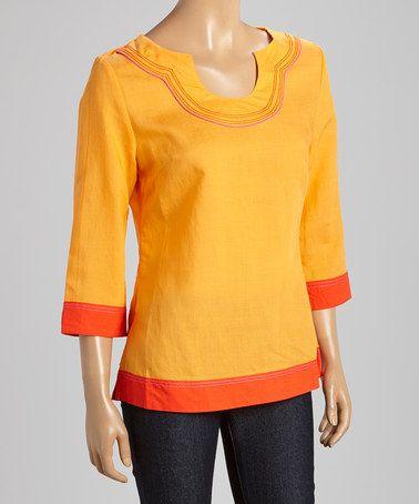 Another great find on #zulily! Orange & Pink Border Linen-Blend Tunic - Women #zulilyfinds
