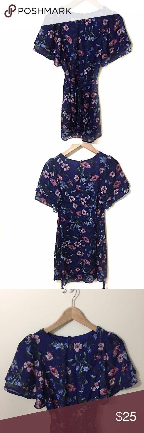 "Primark Blue Floral Dress Size 2 Primark blue floral dress with a self-tie belt, size 2.  New without tags.  Lined. Length 33"" Armpit to armpit 16"" Primark Dresses"