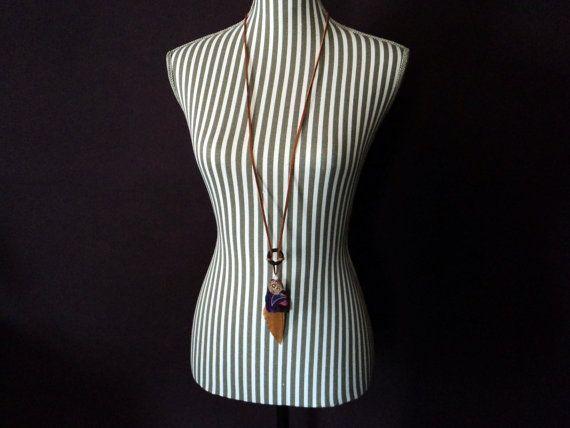 Purple Agate Necklace copperfeatherleathergem by MSquaredSA