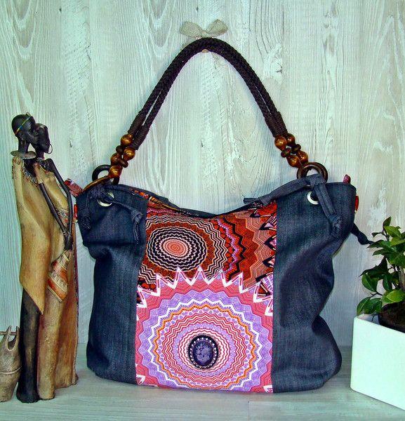 Borse di stoffa - Borsa in jeans e tessuto etnico - un prodotto unico di Alkimya-Bags-Jewelry su DaWanda