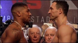 ANTHONY JOSHUA v WLADIMIR KLITSCHKO  OFFICIAL WEIGH IN & HEAD TO HEAD @ WEMBLEY /JOSHUA v KLITSCHKO