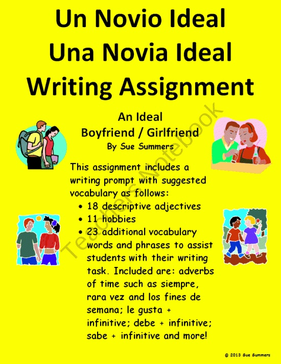 Writing Prompt In Spanish - Ideal Boyfriend or Girlfriend product from Sue-Summers on TeachersNotebook.com