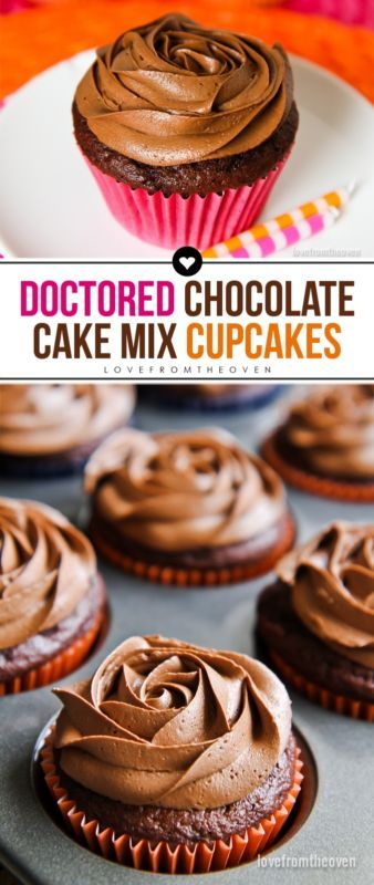 Take a Doctored Chocolate Cake Mix and pair it with a yummy homemade chocolate frosting recipe, and you have some amazing and easy to make cupcakes.