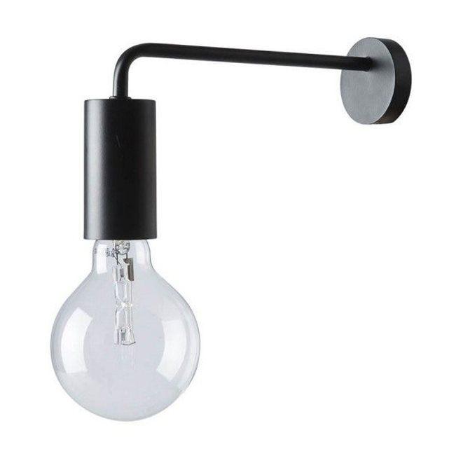 Frandsen Cool applique murale ampoule métal noir mat  Métal noir mat L 21 cm Câble transparent 200 cm, muni d'une prise secteur et d'un bouton marche/arrêt. Ampoule E27 max 60 W (non fournie)