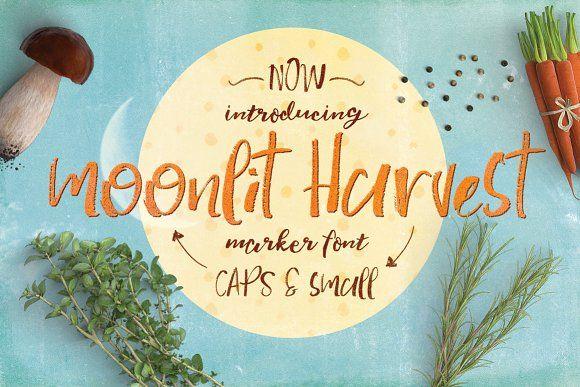 Moonlit Harvest Font Typeface by Creativeqube Design on @creativemarket