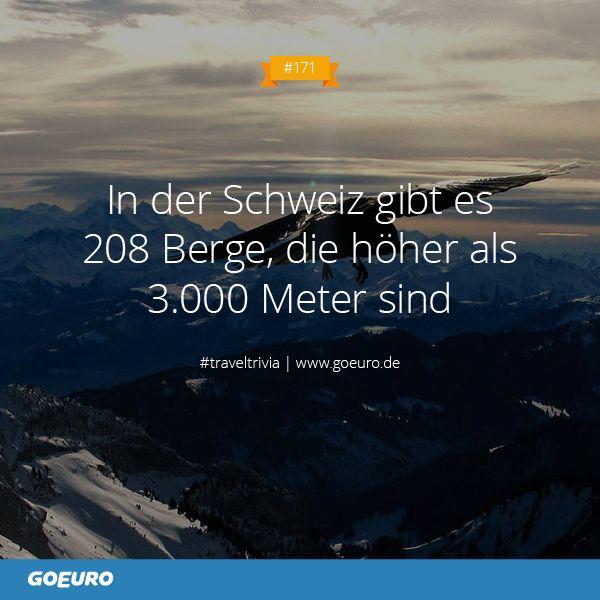 #TravelTrivia #171: In der #Schweiz gibt es 208 Berge, die höher als 3.000 Meter sind