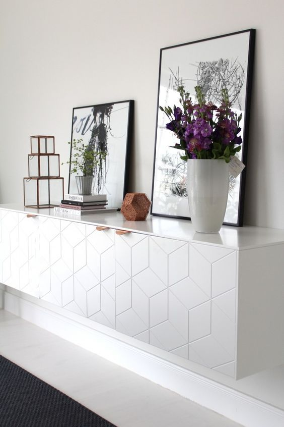 IKEA cabinets with geometric fronts can be lit to accentuate them
